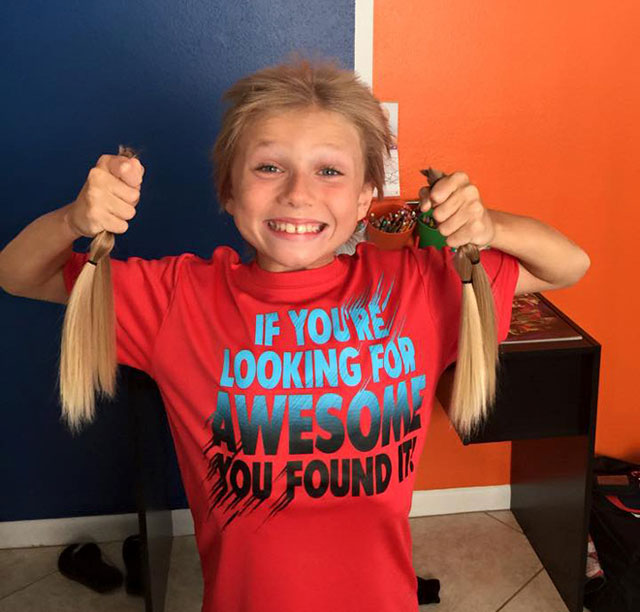 Christian McPhilamy donates hair to cancer patients